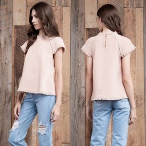 JOA Los Angeles raw hem blouse